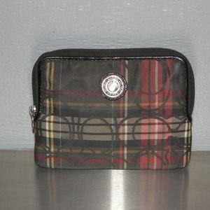 Coach small coin purse plaid